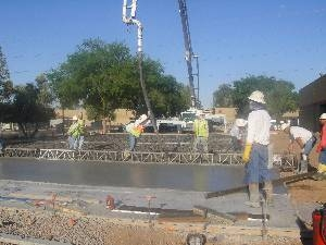 half-finished concrete of basketball court